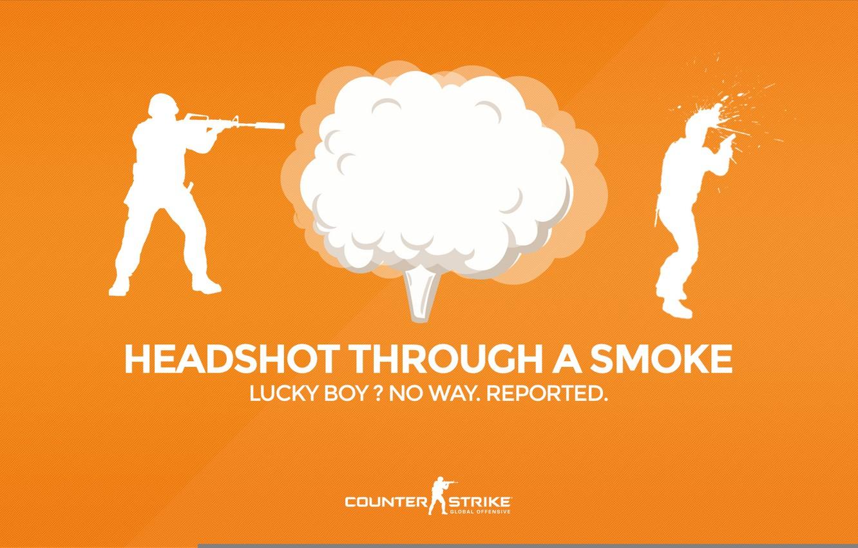 "Photo wallpaper CS GO, Counter Strike Global Offensive, Серия ""CS GO Situation"", Headshot through a smoke, Lucky …"