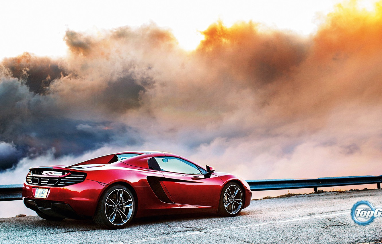 Photo wallpaper McLaren, Top Gear, Red, Clouds, Sky, British, MP4-12C, Back, Road, Supercar
