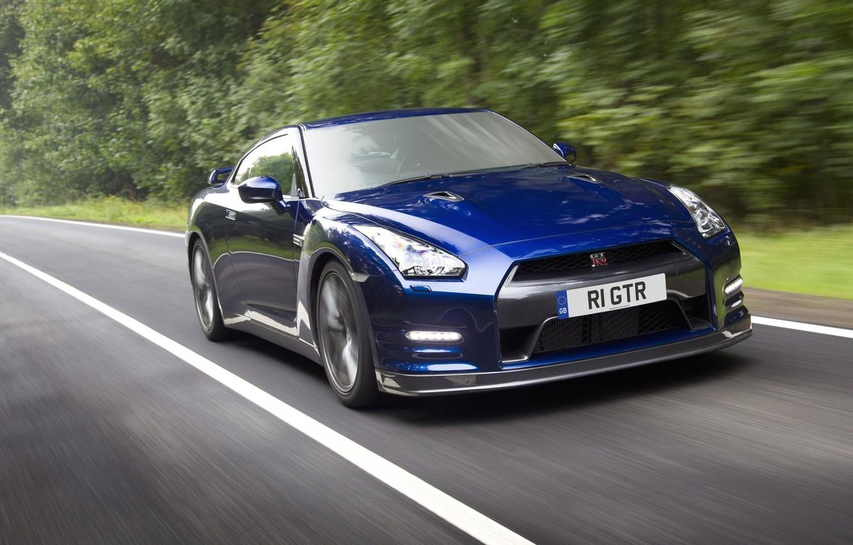 Photo wallpaper blue, speed, R35, Nissan GTR, RE THE GTR