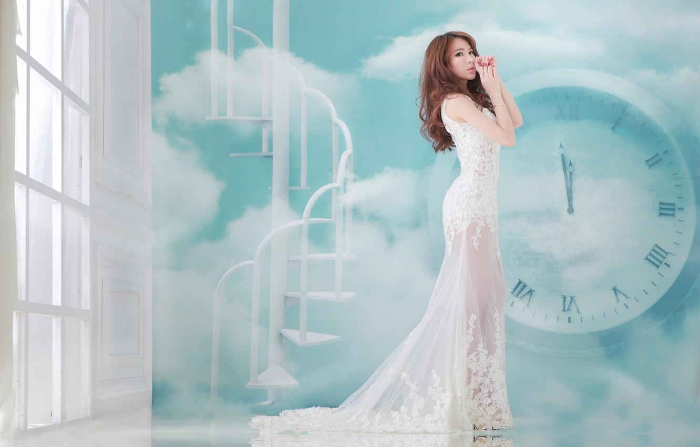 Photo wallpaper girl, watch, dress, Asian, elegance