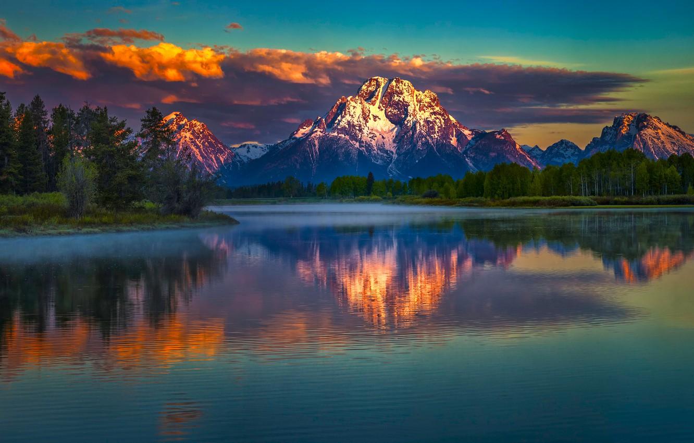 Photo wallpaper Landscape, Water, Snake, Mountain, Sunrise, Morning, River, Reflection, Moran