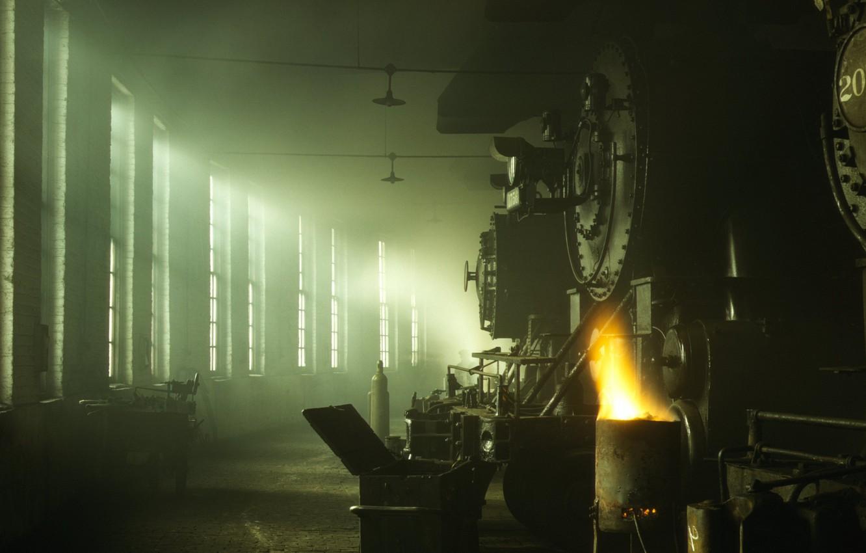Photo wallpaper light, Windows, depot, locomotives