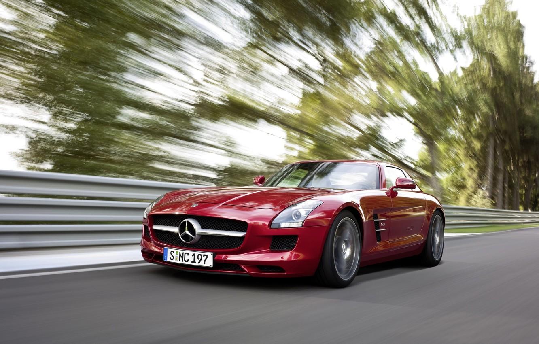 Photo wallpaper road, trees, speed, Mercedes, Benz, AMG, SLS