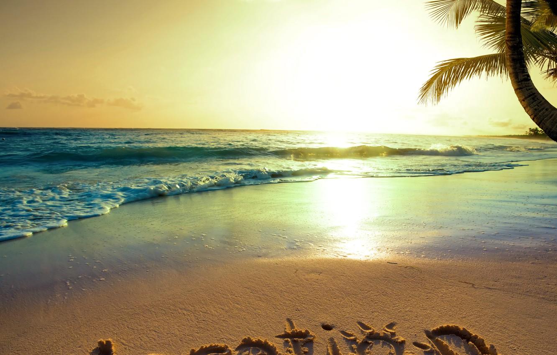 Photo wallpaper sand, sea, beach, the sun, sunset, tropics, the ocean, shore, summer, beach, sea, ocean, coast, ...