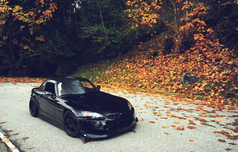 Photo wallpaper Autumn, Machine, Tuning, Black, Honda, Japan, Honda, Car, Foliage, Car, Black, S2000, Wallpapers, Tuning, Wallpaper, …