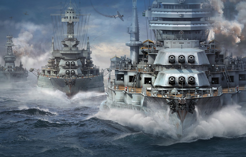 Photo wallpaper Wargaming Net, WoWS, World of Warships, The World Of Ships