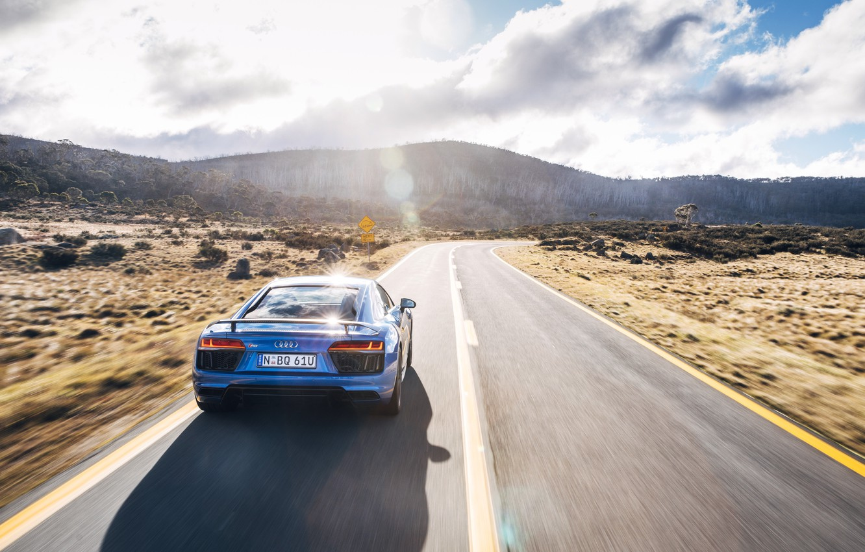 Photo wallpaper road, the sun, light, Audi, car, V10, More, neebo