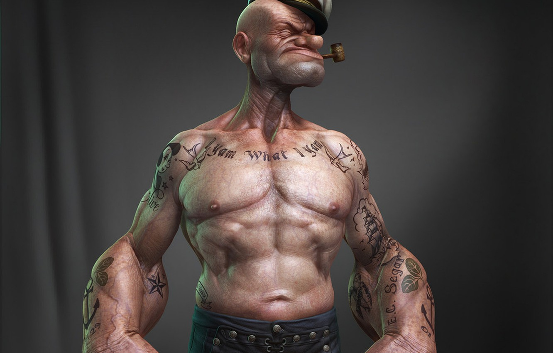 Photo wallpaper Tube, Black Background, Tattoo, Spinach, Popeye The Sailor, Popeye