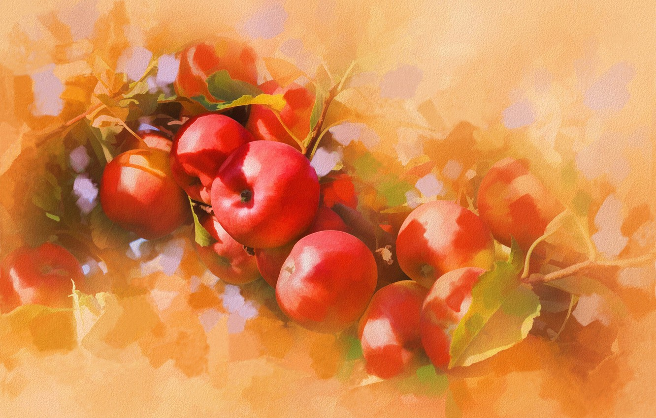 Photo wallpaper apples, picture, art, painting, painting, ruddy, apples, liquid, ripe.