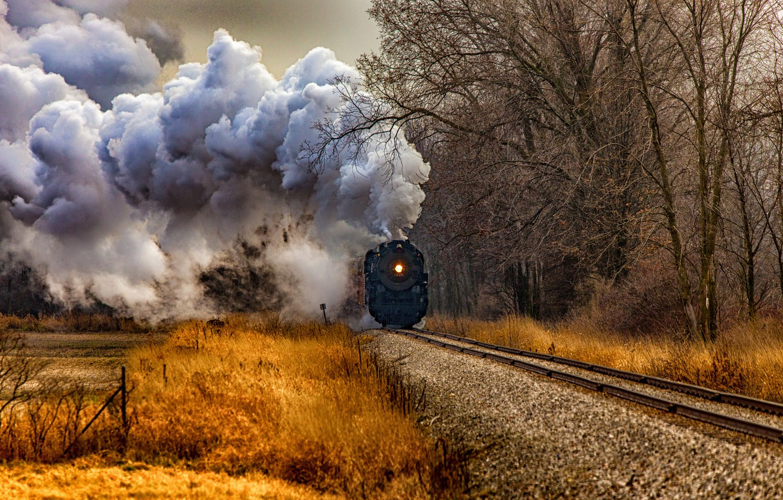 Photo wallpaper road, autumn, grass, trees, smoke, the engine, Michigan, USA, Gratiot