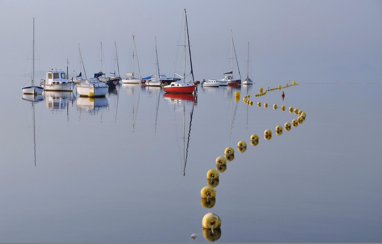 Photo wallpaper landscape, lake, boats, buoys
