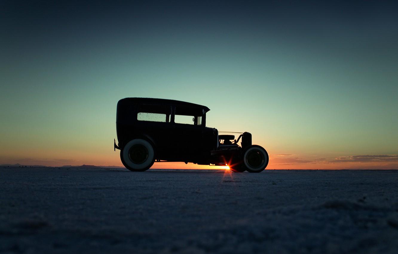 Photo wallpaper sunset, limousine, side