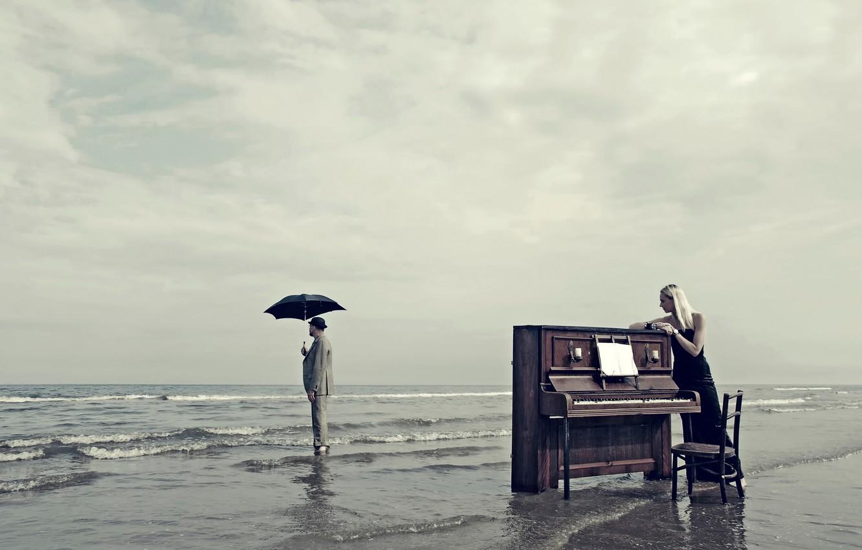 Photo wallpaper girl, shore, umbrella, male, piano