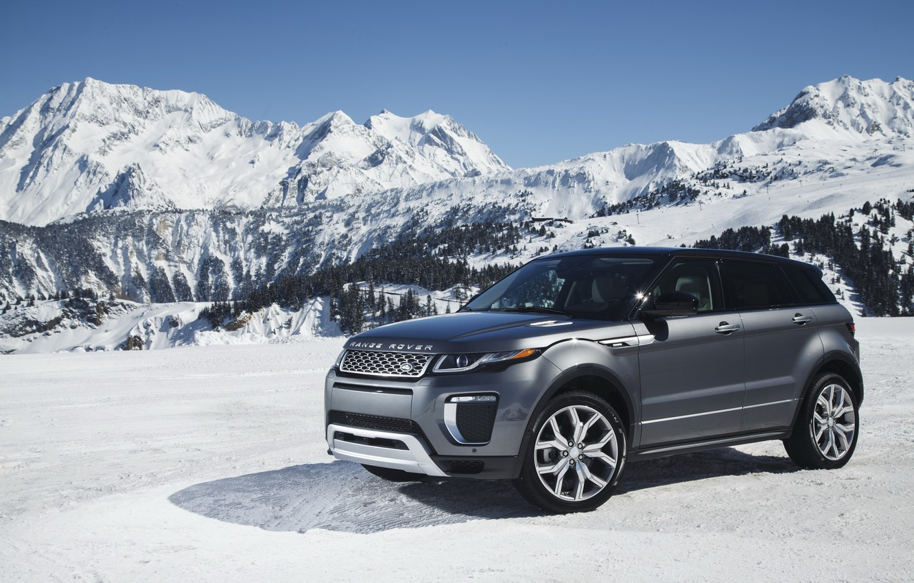 Photo wallpaper car, auto, snow, mountains, Land Rover, Range Rover, wallpapers, snow, Evoque, Autobiography