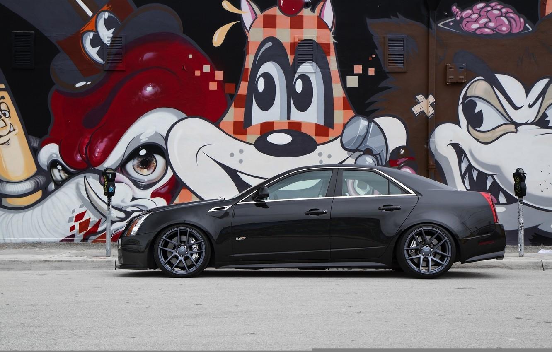 Photo wallpaper black, Cadillac, profile, grafiti, black, CTS-V, Cadillac
