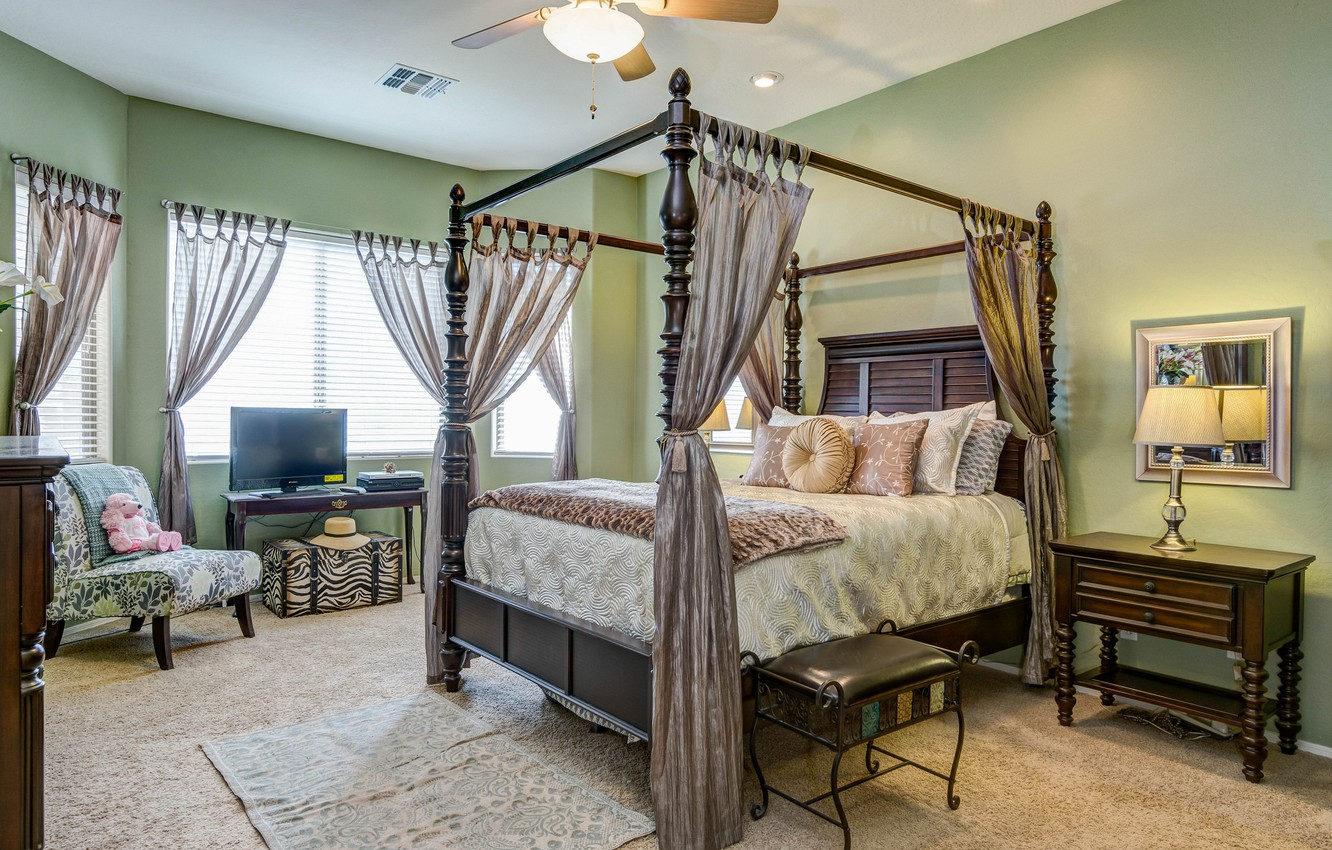 Photo wallpaper design, style, bed, pillow, chairs, curtains, bedroom