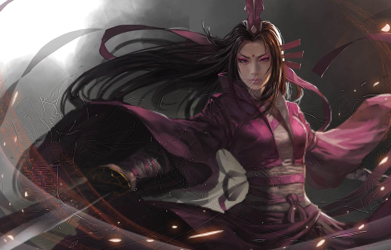 Photo wallpaper girl, sword, art, Asian, blade