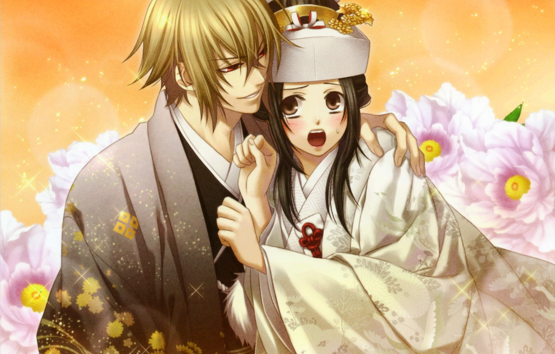 Photo wallpaper girl, flowers, guy, kimono, Yukimura Chizuru, Shinsengumi Demons Sakura, Hakuouki Shinsengumi Kitano, Chigake Kazama