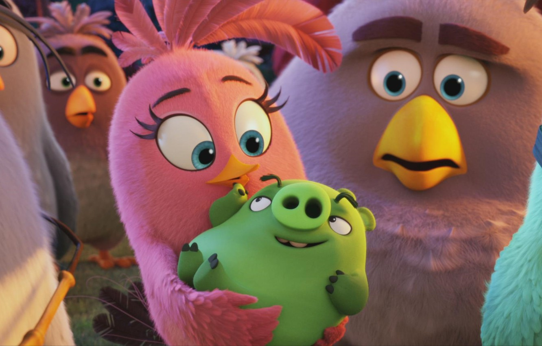 Photo wallpaper green, cinema, animation, girl, game, party, woman, bird, pink, wings, blue eyes, cartoon, movie, series, …