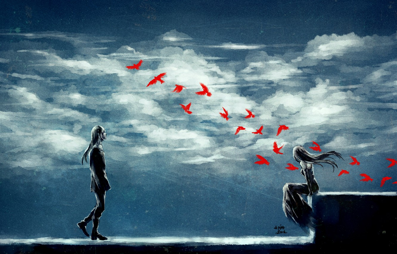 Photo wallpaper girl, clouds, birds, serenity, guy, art, nanfe