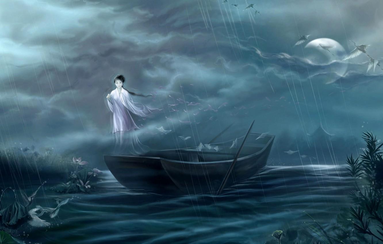 Photo wallpaper girl, night, fog, house, river, rain, the moon, boat, Japan, spirit, art, cranes