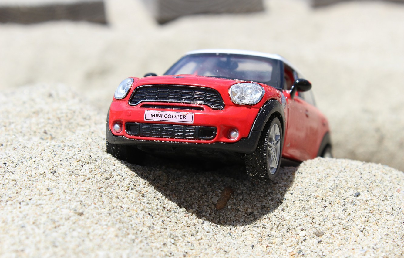Photo wallpaper beach, toy, mini, car, mini Cooper, model