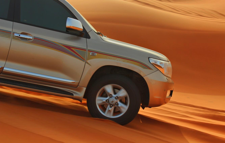 Photo wallpaper sand, machine, desert, SUV, toyota, sand, desrt