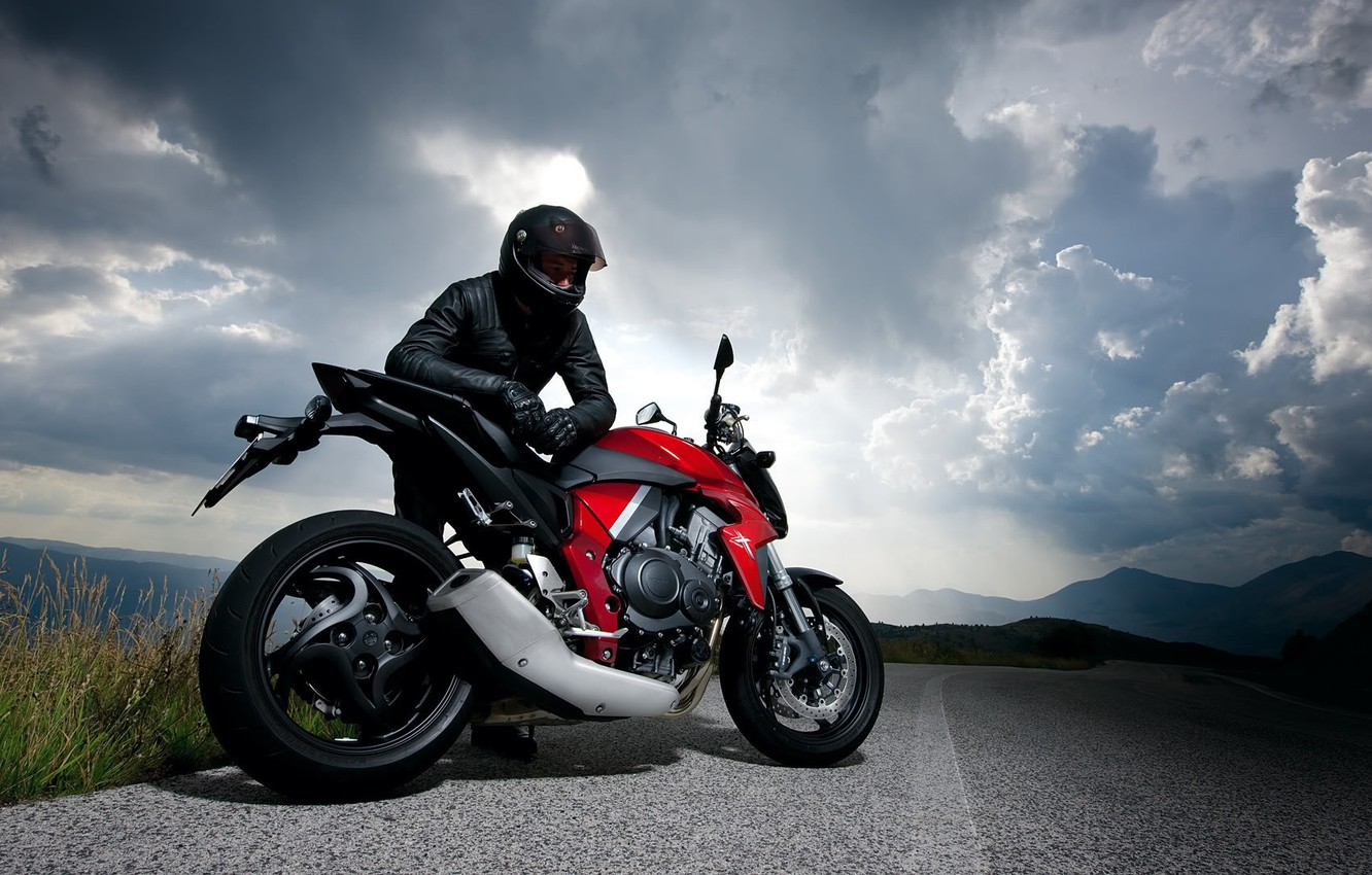 Photo wallpaper road, the sky, clouds, nature, motorcycle, racer