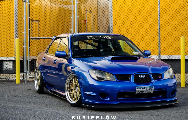 Photo wallpaper turbo, wheels, subaru, blue, wrx, impreza, jdm, tuning, power, front, sti, face