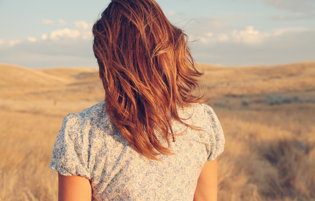 Photo wallpaper girl, the wind, hair, back, red