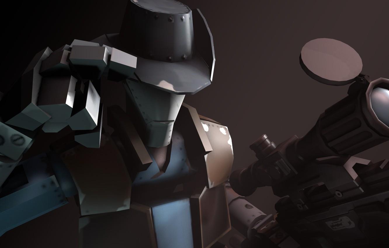 Photo wallpaper Team Fortress 2, sniper rifle, fps, Sniper Robot, Man vs. Machine