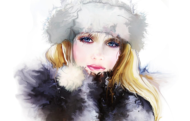 Photo wallpaper winter, eyes, look, girl, face, eyelashes, hat, hair, Tatiana Nikitina