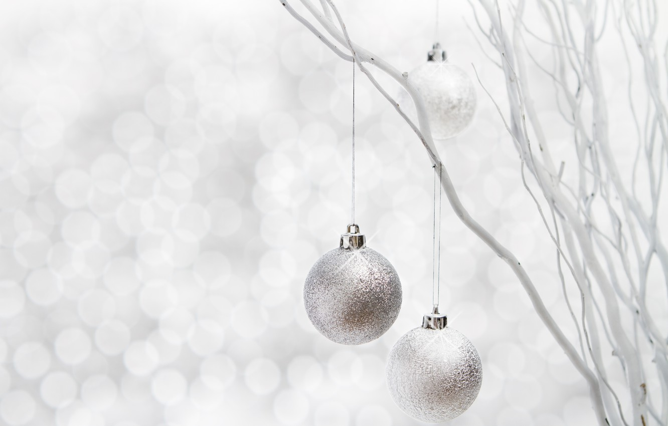 Photo wallpaper winter, balls, branches, toys, New Year, Christmas, decoration, the scenery, Christmas, holidays, New Year, silver, …