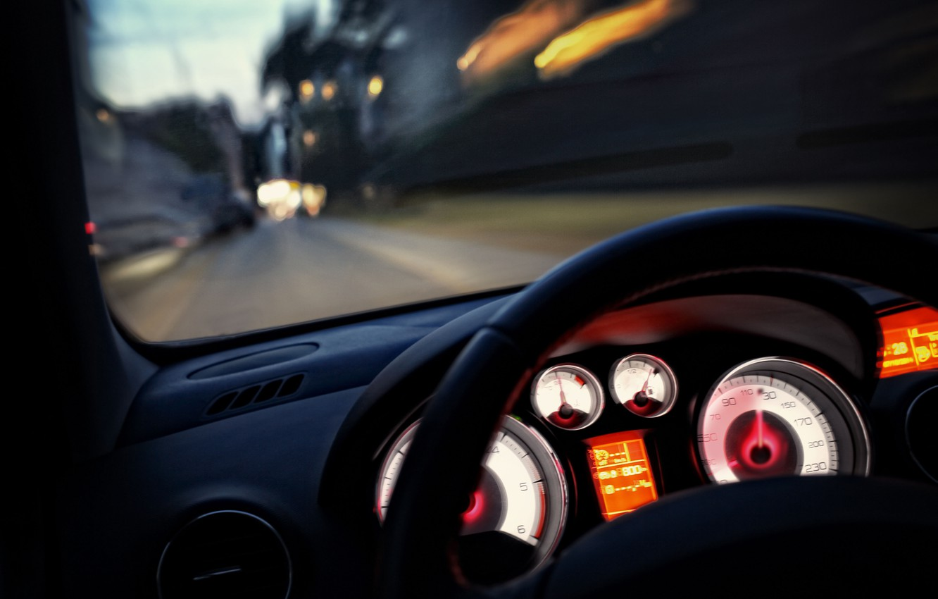 Photo wallpaper road, macro, the city, lights, movement, markup, speed, panel, excerpt, blur, devices, backlight, the wheel, …
