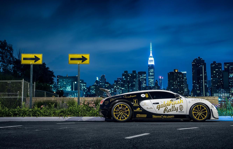 Photo wallpaper Bugatti, Veyron, New York, NYC, Side, Supersport, Nigth, Pur Blanc