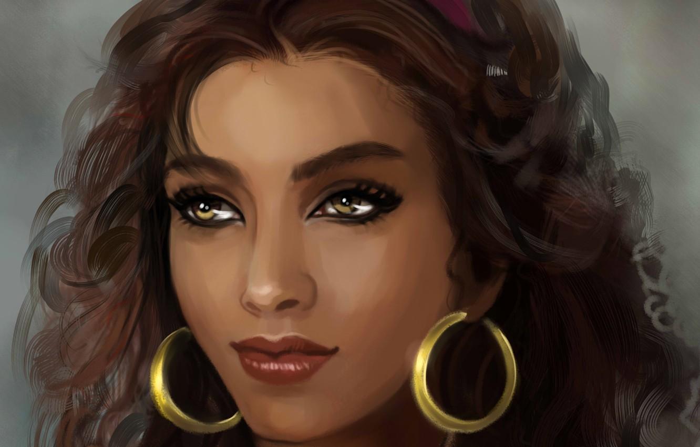 Wallpaper Look Face Hair Earrings Art Character Esmeralda Esmeralda Gypsy Images For Desktop Section Zhivopis Download