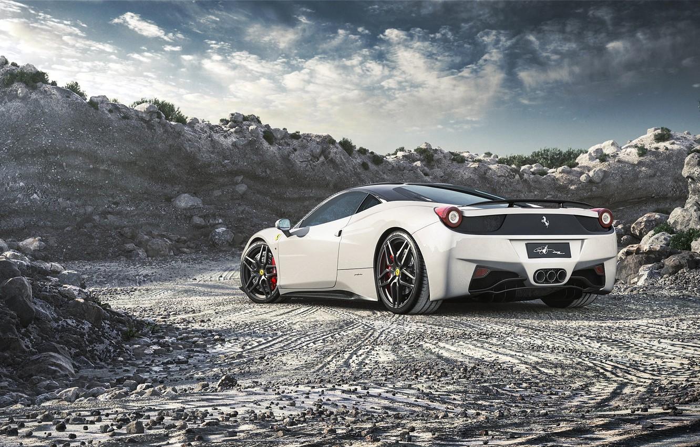 Photo wallpaper Ferrari, Ferrari, 458, White, Italia