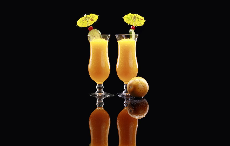 Photo wallpaper reflection, orange, glasses, umbrellas, lime, black background, orange, orange juice