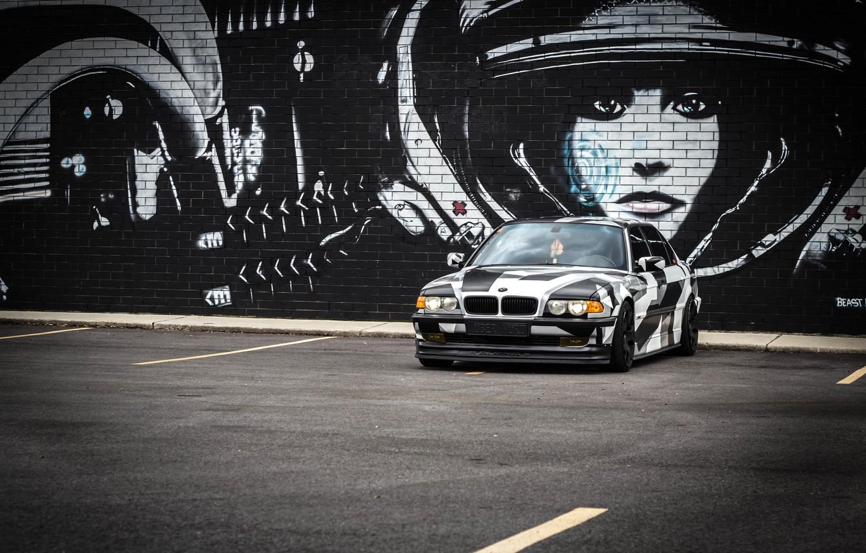 Photo wallpaper BMW, Tuning, BMW, winter, Alpina, E38, arctic camo, camo, 7il