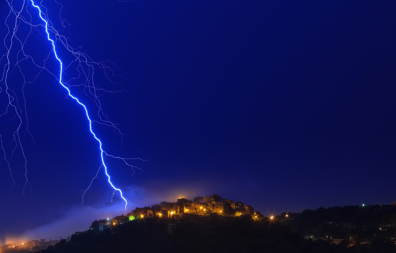 Photo wallpaper the sky, light, night, lights, lightning, France, home, Alps, Provence, Cote d'azur, alain calissi Photography, …
