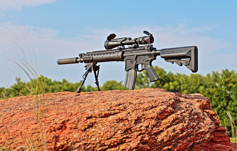 Photo wallpaper weapons, stone, rifle, sniper, MK12