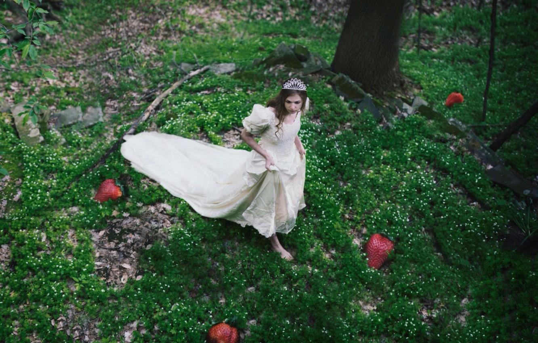 Photo wallpaper forest, berries, dress, strawberry, girl, Diadema