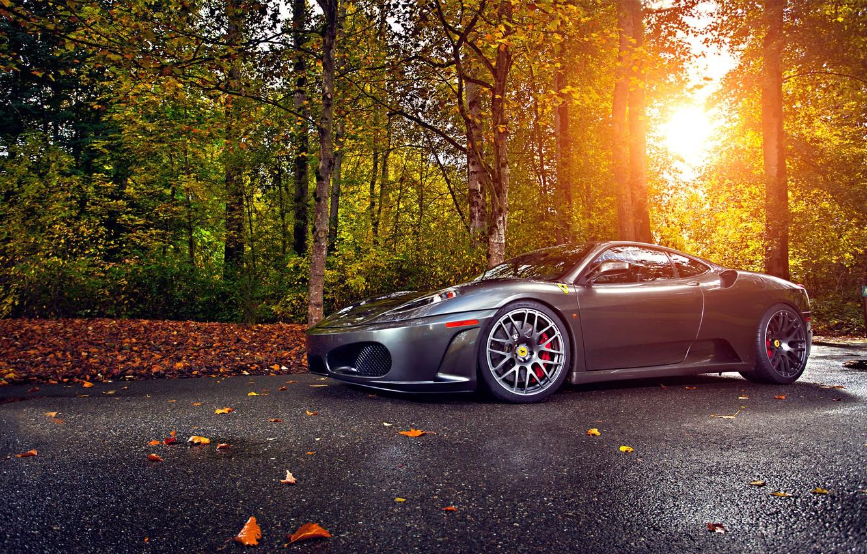 Photo wallpaper Ferrari, Green, Sun, Autumn, Tuning, asphalt, Silver, 430, Wheels, Trees, Leaf