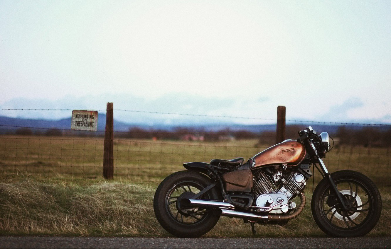 Photo wallpaper road, grass, motorcycle, on the street