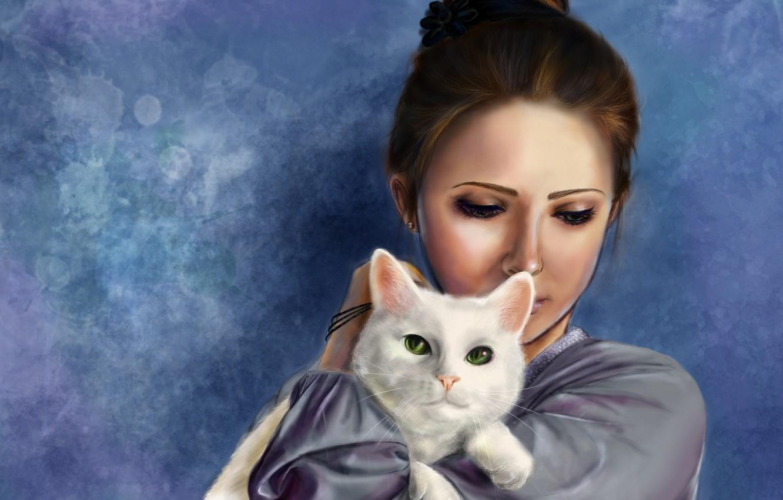 Photo wallpaper cat, girl, art, hatae