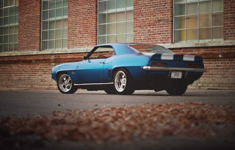 Photo wallpaper leaves, the building, Windows, Chevrolet, wheel, Camaro, rear