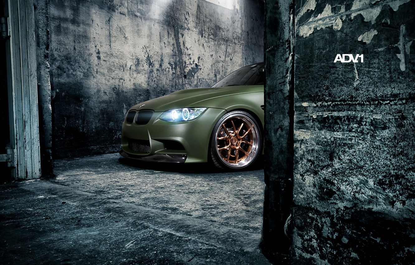 Photo wallpaper wall, lights, tuning, BMW, BMW, green, tuning, the front, adv.1