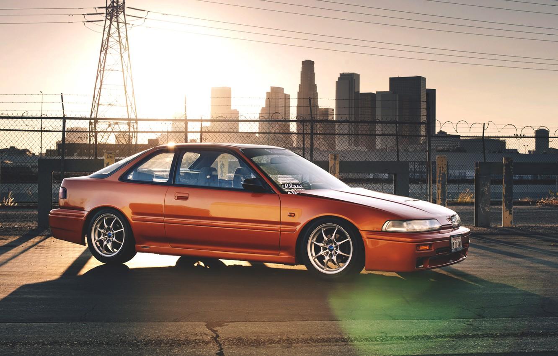 Photo wallpaper sunset, the city, honda, Honda, Integra, integra