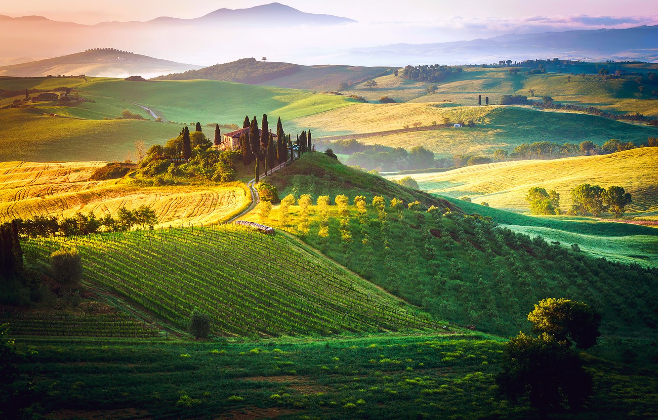 Photo wallpaper the sky, fog, field, Italy, estate, cottage, Tuscany, The Tuscan Dream
