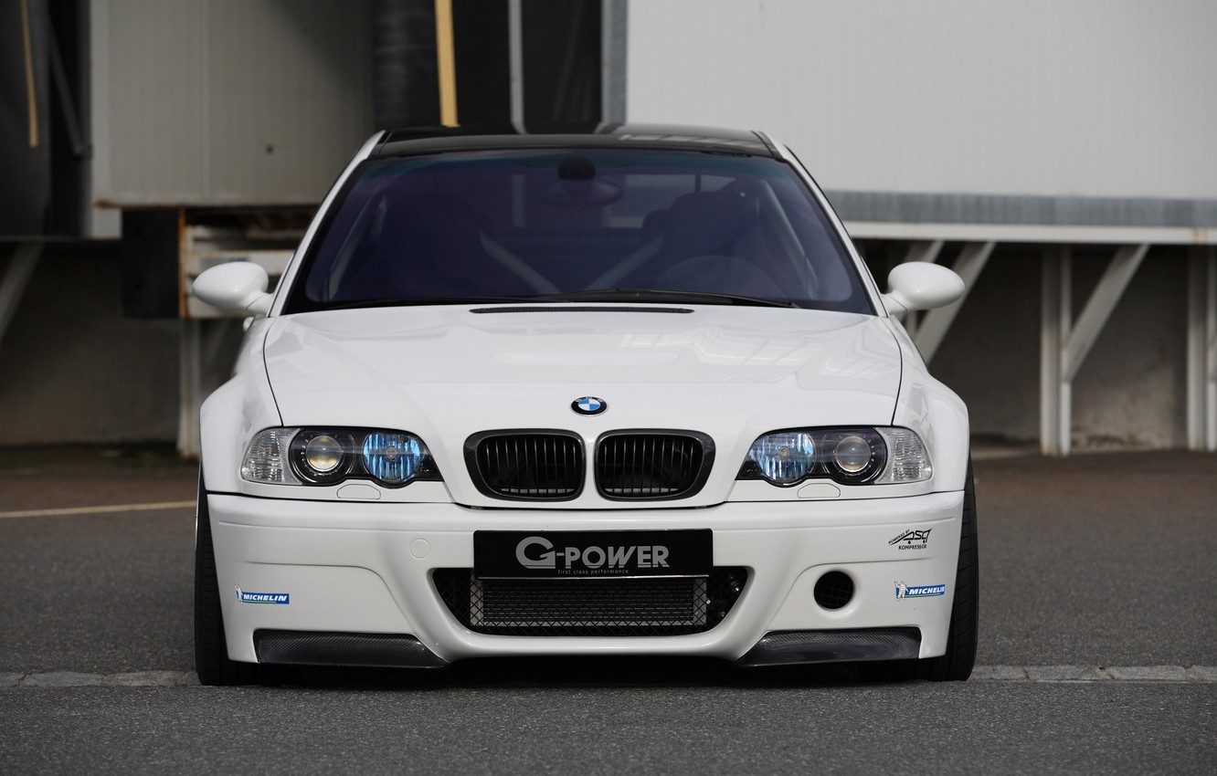 Photo wallpaper white, tuning, bmw, BMW, white, the front, g-power, e46, tinted, carbon fiber roof